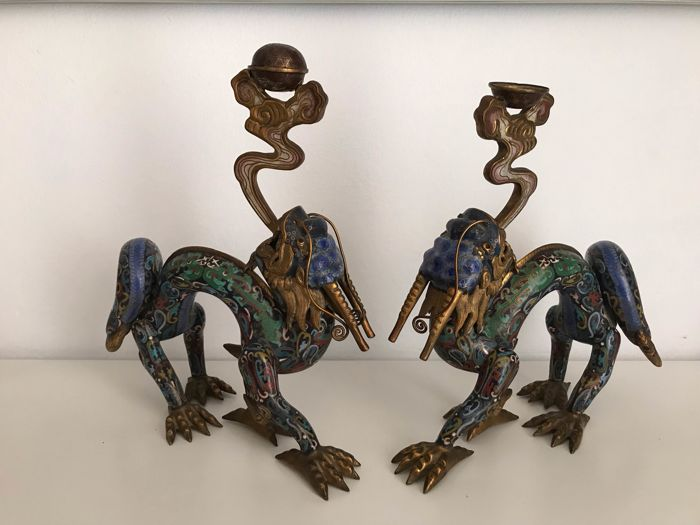 Rare Mirror Pair of Cloisonne Dragon Censers - China 19th-20th Century