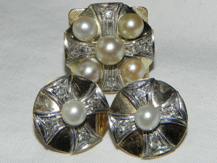 14 kt. Gold - Art Deco Set 14 K 585 Gold Ring and earrings Diamond - Pearl