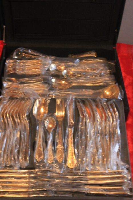 HKS Solingen - cutlery - fully gold-plated cutlery 72 pieces new, -.999 (24 karat) gold