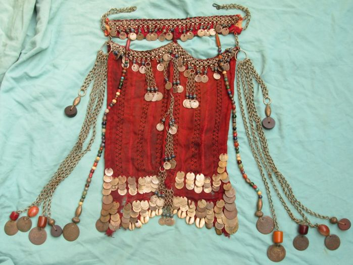 Sinai - Egypt - Bedouin face veil with old coins and beads