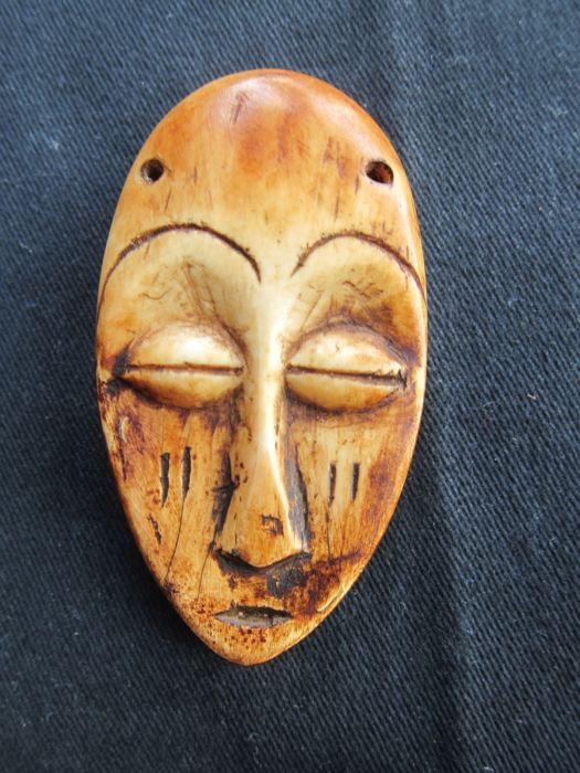 Antique ivory mask-LEGA-D.R. Congo