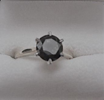 14 kt two-tone gold ring with a black diamond of 1.5 ct - Size: 6.5