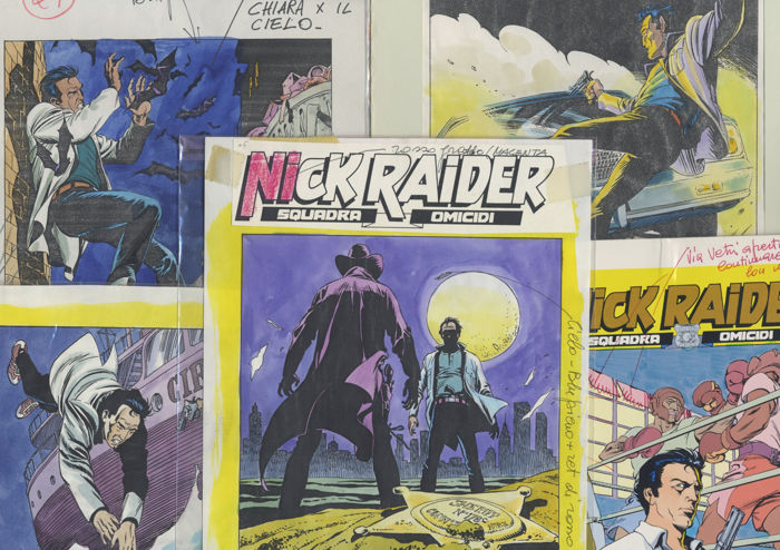 Nick Raider - 5x cover prova colore - Loose page - First edition