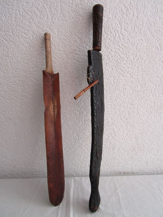 Two old African swords-D R  Congo and Kenya-wood, animal