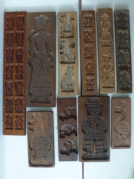 """Old wooden """"speculaas"""" boards, various designs - 10 - wood"""