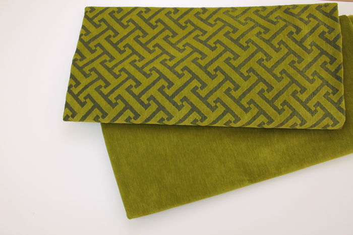 5.50 meters !!!! Green velvet textile fabrics gifts, 2 different fantasie.textile, fabric, stoff, (2) - cotton blend - 2018