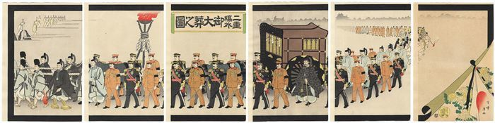 "Original 6-part woodcut by Yasuda Hanpo (1889-1947) - ""Nijubashigai Gotaiso no zu"" 二重橋外御大葬之図 (His Imperial Majesty's Funeral Outside Nijubashi) - Japan - 1912"