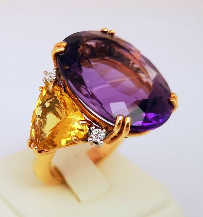 Cannata - 18 kt. Pink gold - Ring - 20.51 ct Amethyst - Diamond, Heliodore