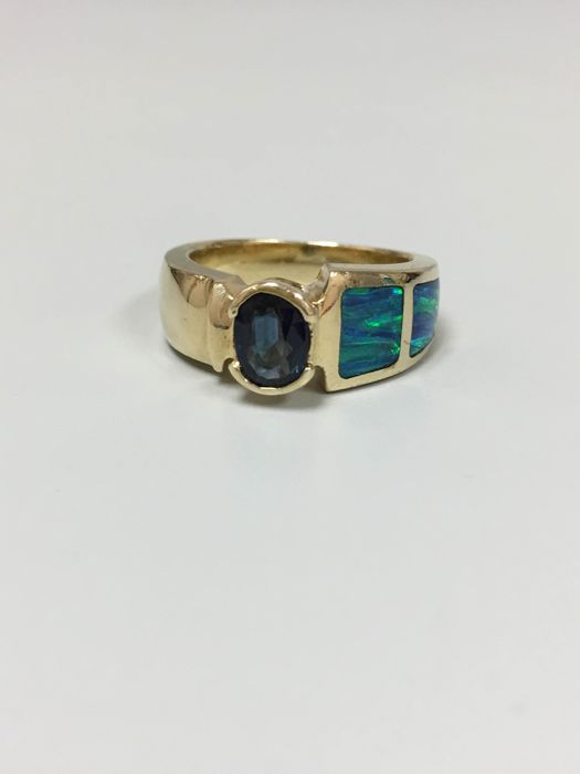 14 KT Yellow Gold Sapphire and Australia Opal. NO RESERVED