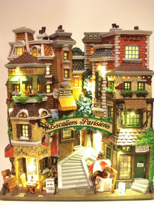 """Lemax - Large Illuminated Christmas house """"Escalliers Parisiens"""" - Village Collection - Resin/Polyester"""