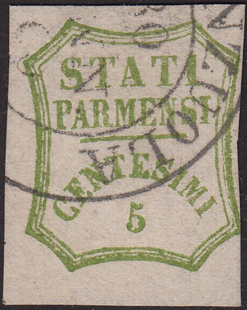 """Parma 1859 - 5 cents green yellow with """"Fiorenzuola"""" cancellation - Sassone N. 13"""