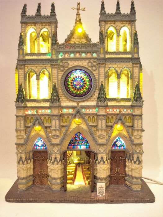 """Lemax - Large Illuminated Building - """"St. Patrick's Cathedral"""" - Village Collection - Resin/Polyester"""