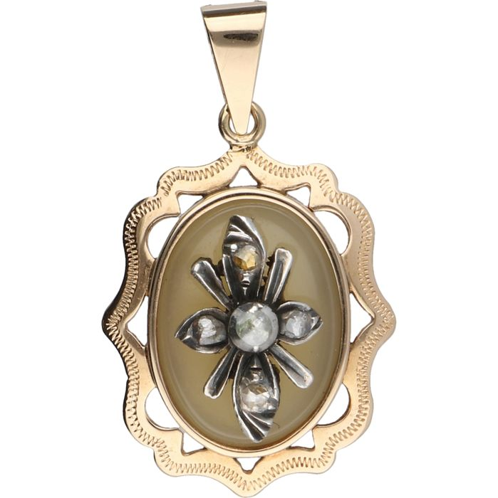 Pendant - Rose gold - Diamond and agate