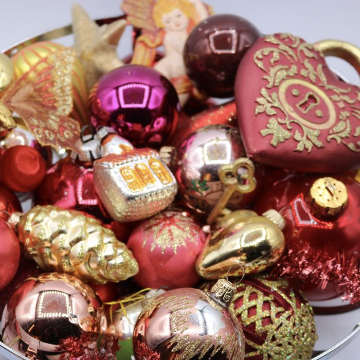 Lot of 36 old and antique Christmas baubles red orange - Glass, Plastic