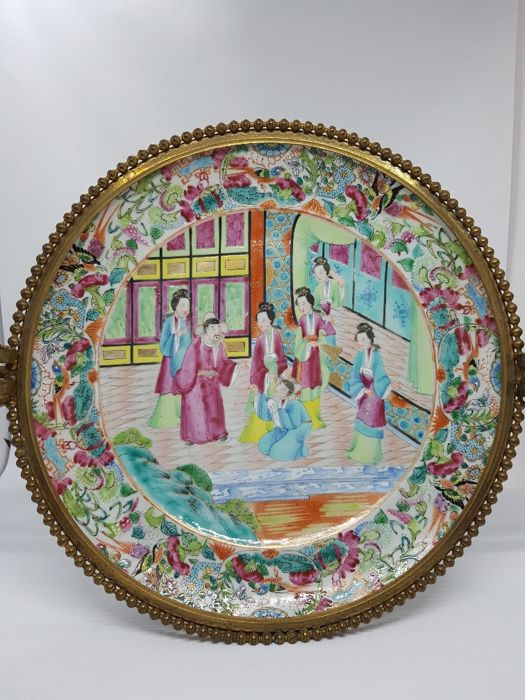 Chinese-Cantonese porcelain plate in a bronze-plated frame (Europe ...