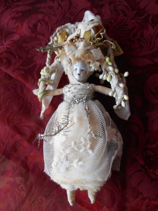 Antique cotton wool doll for christmas tree decoration - Cotton wool with porcelain and Christmas decorations