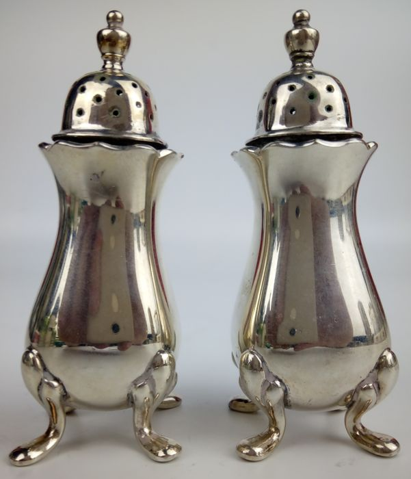 Edwardian Fine Silver-Plated Salt Shakers - English Tableware - U.K. - Private Collection