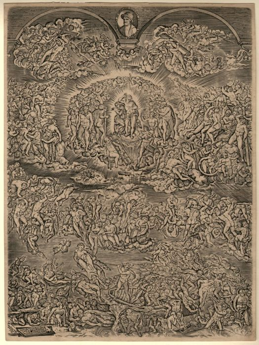 Michelangelo Buonarroti (1475-1564) - Last Judgement engraved by Martin Rota (1520-1583)