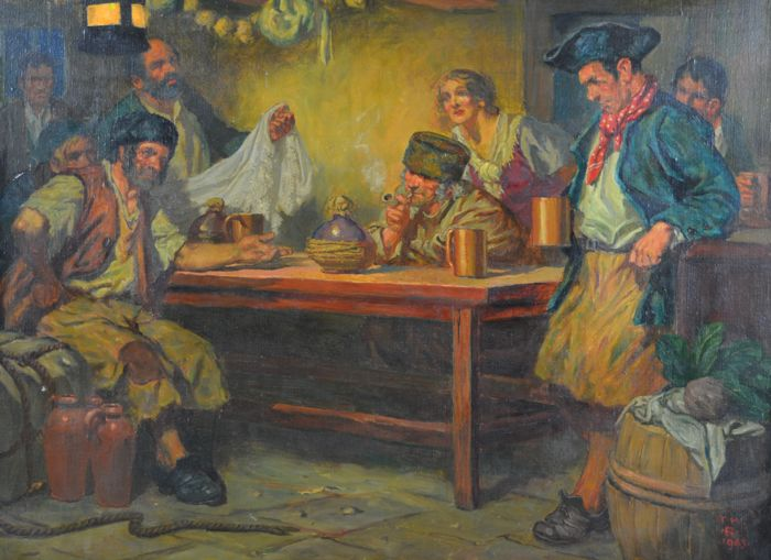 English school (20th century) - A tavern interior with figures