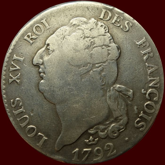 France - Ecu 1792-M (Toulouse) Louis XVI - Silver