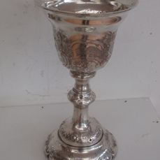 Silver wine chalice with floral decoration -.833 silver - The Netherlands - 1850-1874