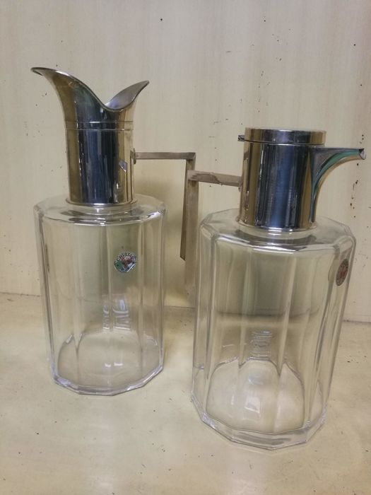 Pair of pitchers in crystal and silver 800 - Made in Italy - 1950-1999