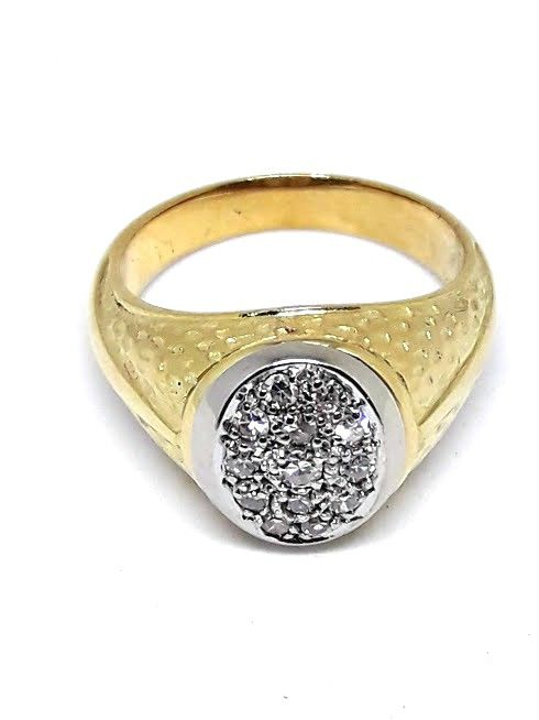 Ring from 70s - Gold 18 kt - Brilliant cut diamonds 0.32 ct - Size 15.5 mm