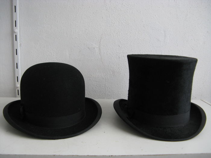 antique top hat and bowler hat - textile - Catawiki 3975f62b276