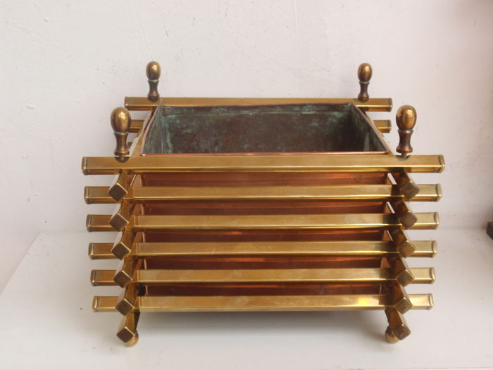 Art Deco yellow and red copper planter