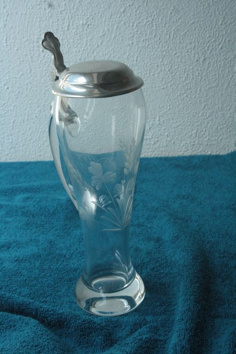Engraved glass with silver plated lid - marked - glass - silver plated - Europe - 1950-1999