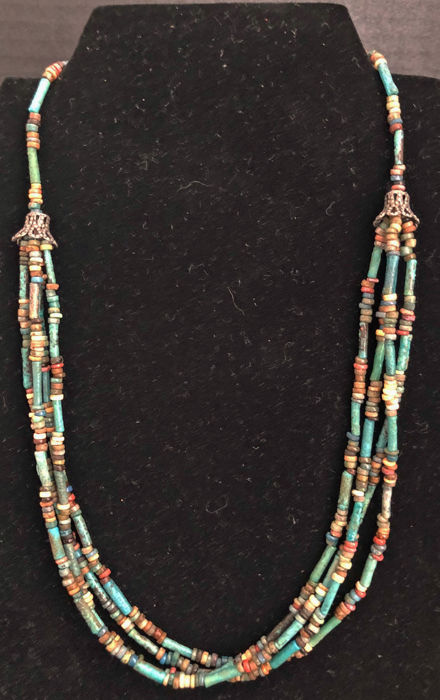 Ancient Egyptian Faience  Mummy Beads Necklace - (1)