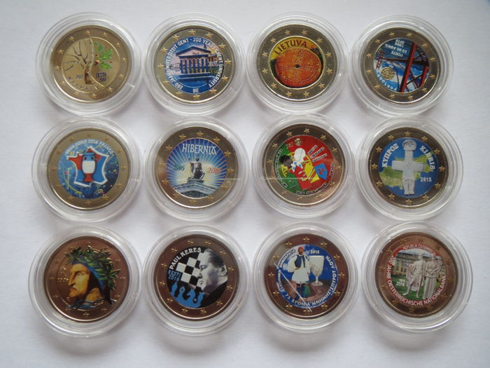 Europe - 2 Euro - Lot of 12 coloured coins