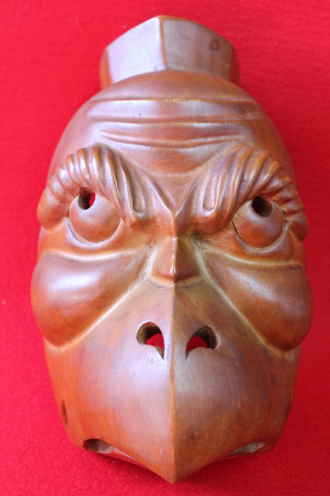 Carved wood mask - Karasu Tengu (crow-billed Tengu) 烏天狗 - Japan - 2nd half of the 20th century