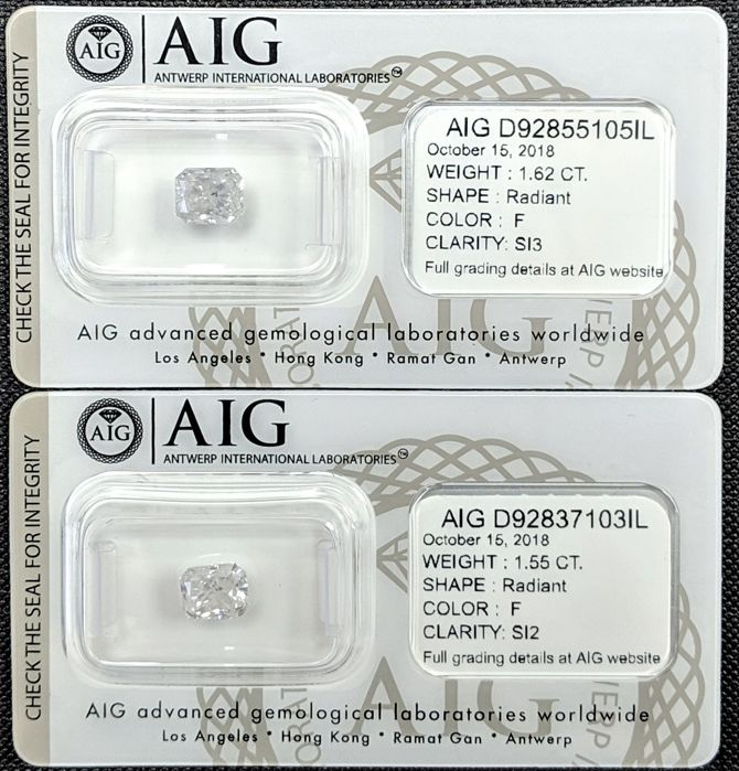 3.17 ct - Matching Pair of Radiant Diamonds - F Color - SI2/SI3 - AIG
