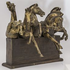 A sculpture of the beautiful wild horses - Resin / polyester + alabaster