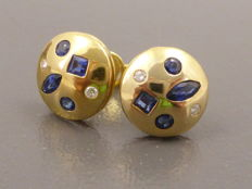 18 kt Yellow gold earrings set with sapphire and diamond - no reserve price