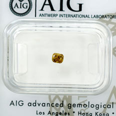 Natural Fancy Deep Yellow Diamond - 0.20 ct, NO RESERVE PRICE