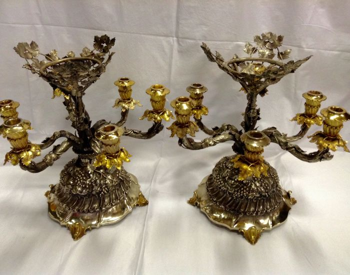 Pair of Candelabra - Pair - .925 silver - Stile Buccellati - Italy - 1950-1999
