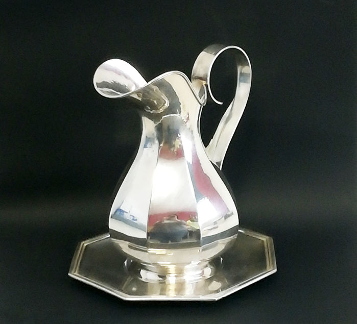 Jug with Underplate - Near set of 2 - .800 silver - Italy - 1950-1999