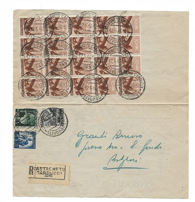 italy kingdom 1949 - letter with multiple postage of values from the