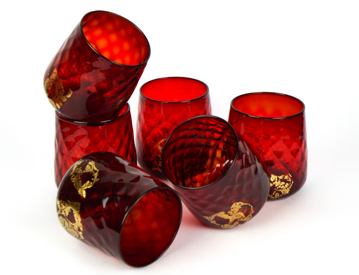 Stefano Mattiello (Murano) - Set 6 red and 24k gold glasses