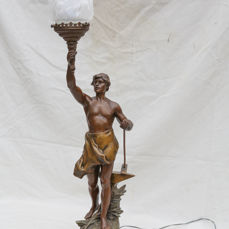 Charles Theodore Perron - large sculpture beeldhouder als lamp - Le Travail - verbronsd zamak - 1862-1880