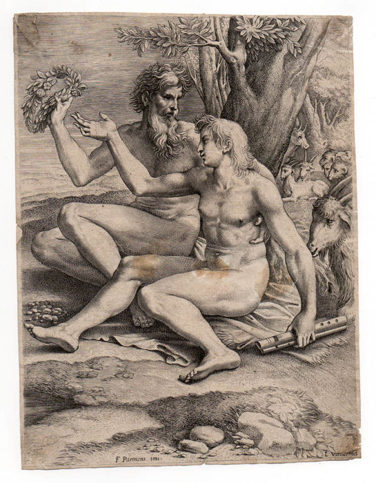 Parmigianino / Vorsterman - The Young and Elder Goatherd - Engraving