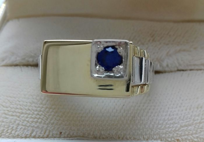 18 kt ring bicolour yellow gold/set with Sapphire 0.20 ct - ring size: 61.5/19.5 mm