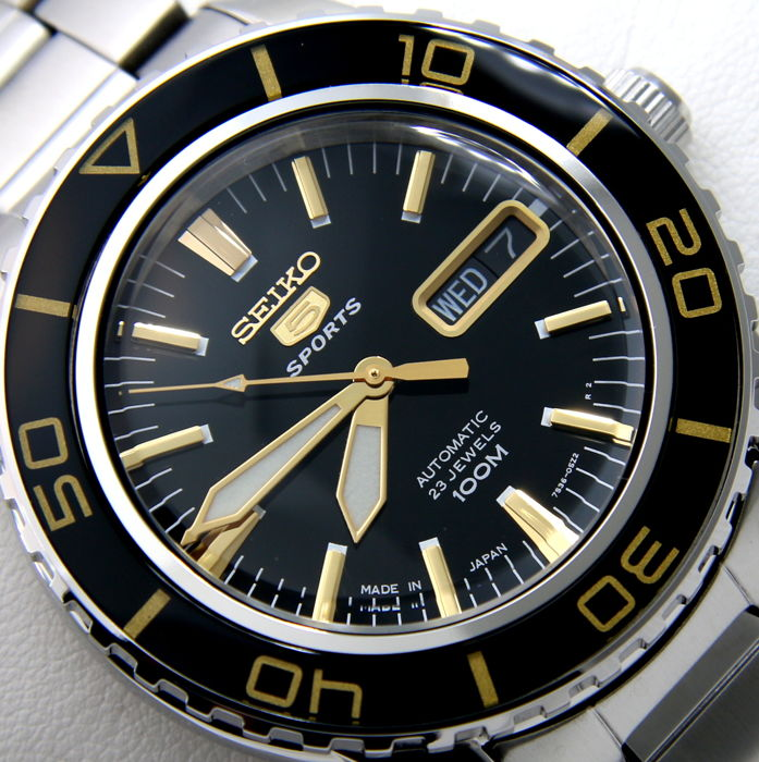 "Seiko - Automatic 23 Jewels ""50 Fathoms"" Gold Tone - ""NO RESERVE PRICE"" - Homem - 2018"