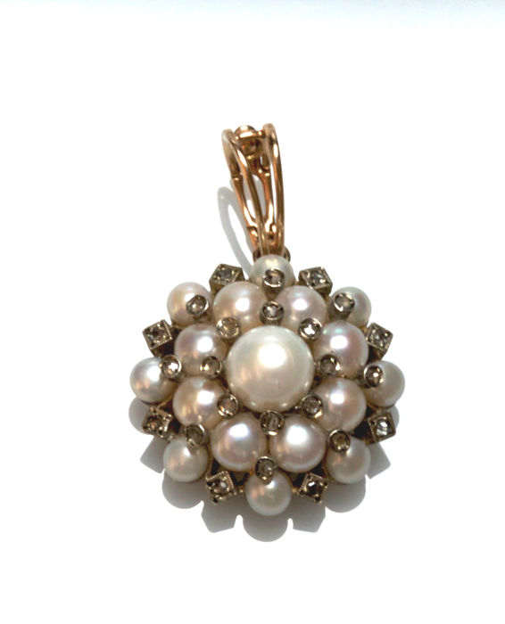 Pendant - Gold, Silver - Pearl and Diamond