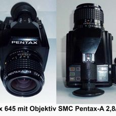 PENTAX 645 ANALOG with 3 lenses and 5 film magazines.