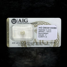 Natural Diamond - 1.08 ct, F / I3 - NO RESERVE PRICE