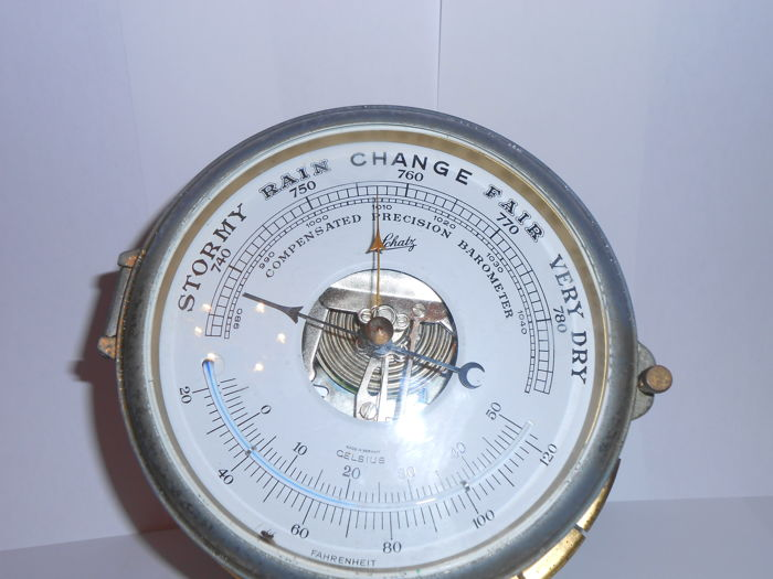 Ship barometer-thermometer A.Schatz solid brass - Brass - First half 20th century
