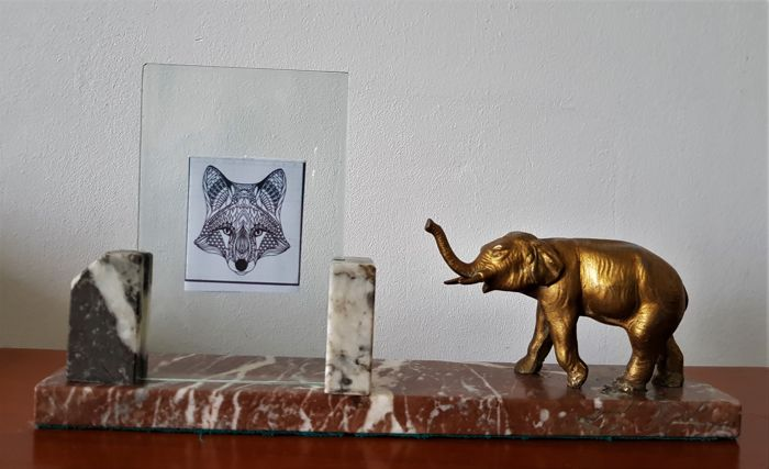 Photo frame with elephant Art Deco - marble base and glass plates